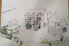 Croquis-bâtiment dans le dessin